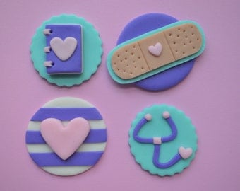 12 Doc McStuffins Inspired Cupcake Toppers-Fondant