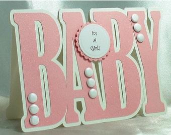 New Baby Card, New Baby Girl Card, Baby Girl Card, Birth Announcement, Congratulations baby girl, Girl Card, Baby shape, Handmade card