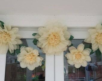 Set of 5 Ivory hand made tissue paper flowers. 1x 45cm, 2x 43cm, 2x 30cm.