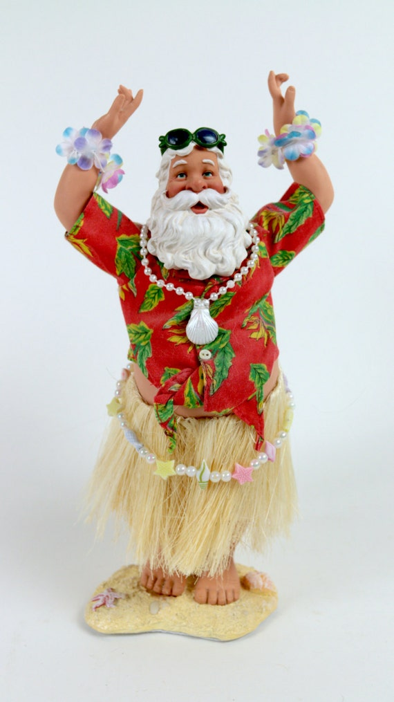 Vintage hula hawaiian aloha christmas holiday santa figurine