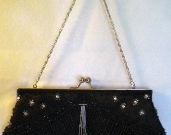 Vintage Black Bead Purse