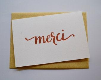 Merci Letterpress Greeting Card (Pack of 3)