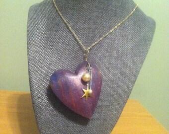 Hand Painted Purple Wooden Heart Pendant