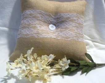 Burlap Ring Bearer Pillow