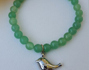 Green Aventurine 6mm bracelet with silver bird charm