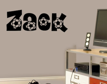 Soccer Personalized Name Vinyl Wall Decal