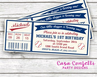 Baseball Birthday Invitation, Baseball Invitation, Baseball Ticket Invitation, Baseball First Birthday Invitation, Printable Invite