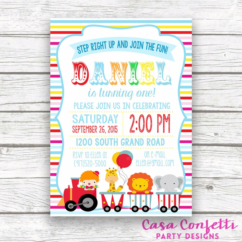 Circus Invitation Circus Birthday Invitation Carnival Theme Boy