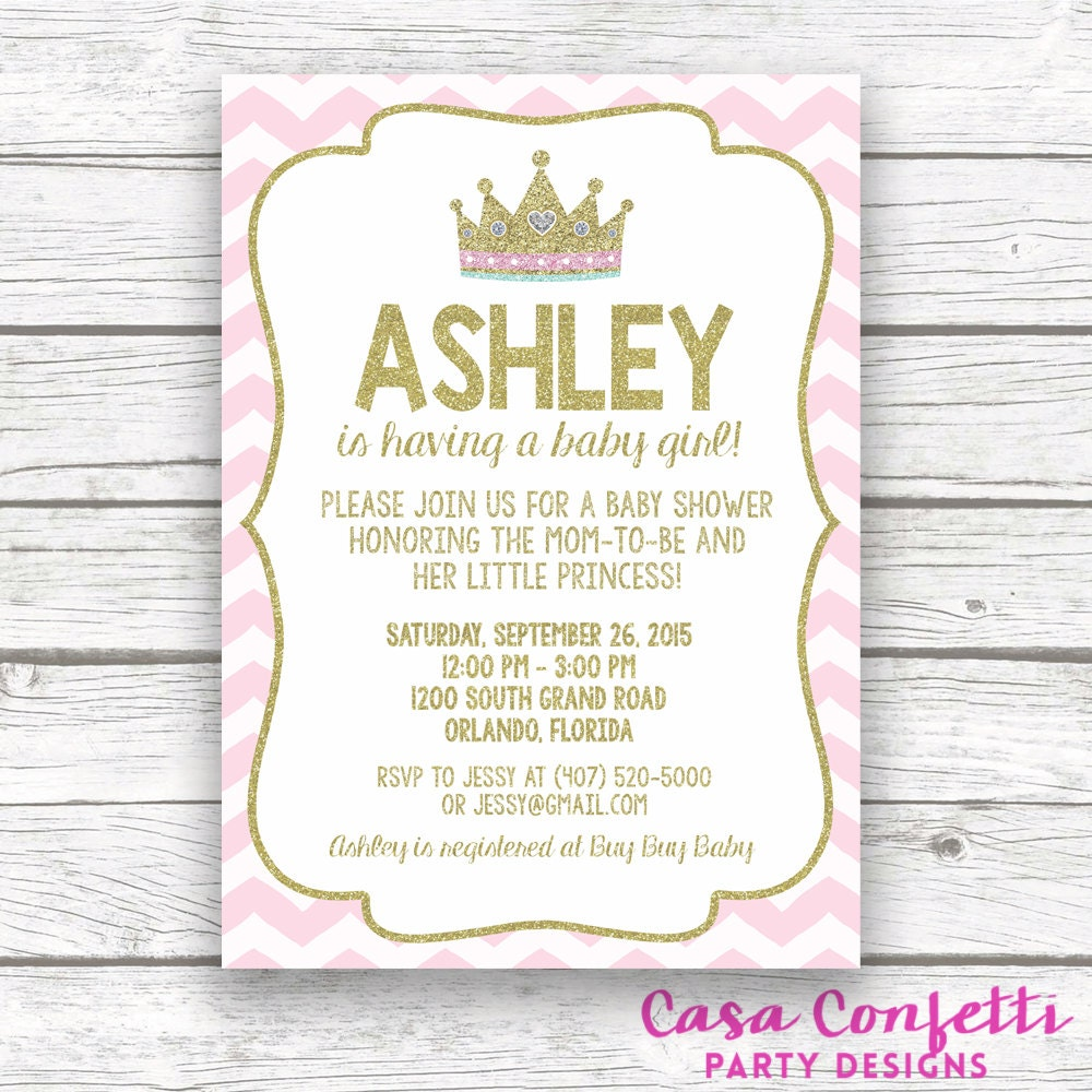 Pink and Gold Glitter Princess Baby Shower Invitation, Pink Chevron ...