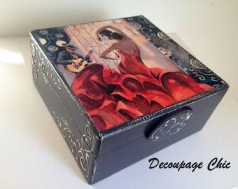 Jewelry box - black and red flamenco box,  handmade