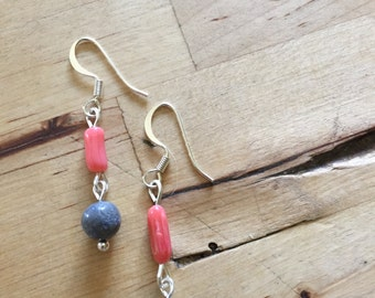 Bright and Spring-y Gray and Coral Beaded Silver Earrings