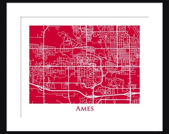 Ames Map - Map of Ames Iowa - Iowa State University - Print - Poster - Cyclones