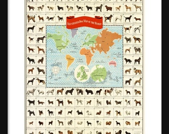 Dog Map - Dogs of the World - American Kennel Club - Print - Poster