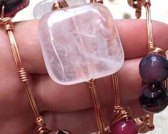 Pink quartz copper wire wrap bracelet