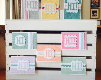 Hi Greeting Card Set - Blank Cards - Handmade Cards - 8pk