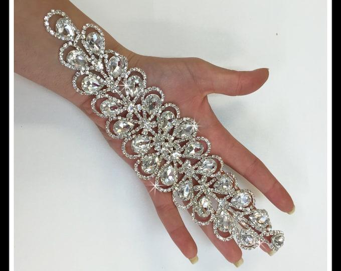 Crystal Bridal Applique, Bridal Sash, Rhinestone Applique, Swarovski Applique  (Silver, Rose gold) #0172