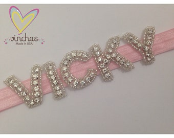 Name headband, rhinestone letters, letters headband, initial names, baby headband, custom headband, custom, baby name, girl hair, letters