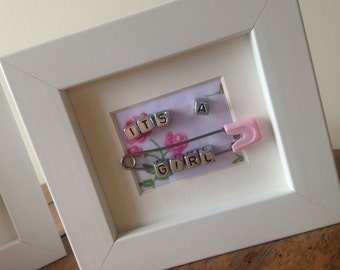 Miniature New It's a Baby Girl unique personalised name frame present gift