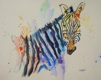 Zebra *Original Watercolor Painting*