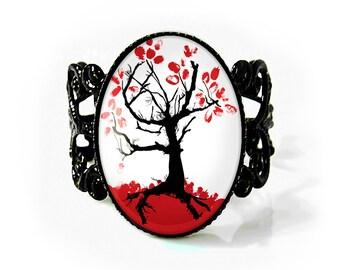 Jet Black Japanese Cherry Blossom Tree Gothic Art Nouveau Adjustable Filigree Ring 162-JBFR