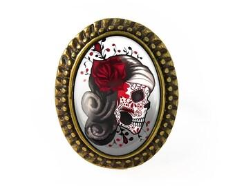 Antique Bronze Day of the Dead Sugar Skull Girl Adjustable Ring 73-BOR