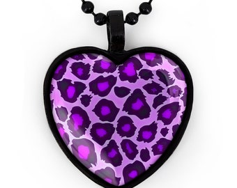 Purple Leopard Animal Print Black Punk Rock Heart Pendant Necklace 208-JBHN