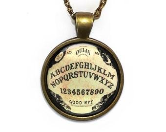 Antique Bronze Traditional Ouija Board Horror Glass Pendant Necklace 47-BRPN