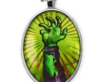 Shiny Silver Living Dead Zombie Attack! Oval Halloween Pendant Necklace 82-SON