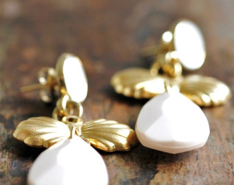Gold earrings with ivory drops