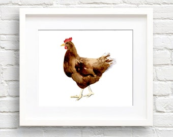 Chicken Art Print - Kitchen Art - Wall Decor - Watercolor Painting