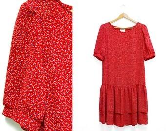 Totes Adorbz Drop Waist Floral Red Dress