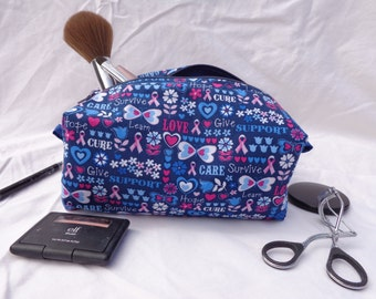 Blue Breast Cancer Large Zippered Box Bag
