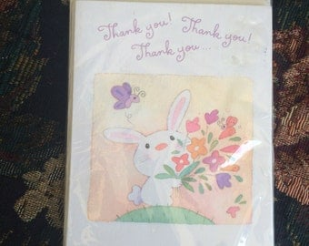 Vintage 1995 Gibson Thank Cards, Gibson Thank You cards, bunny cards, Gibson Greeting Cards