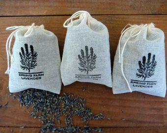 Set of 3 Organic Lavender Sachets - In Muslin Bags stamped Spring Farm Lavender, Spa & Relaxation, Shower Gift, Aromatherapy, Thank You Gift