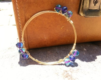 Blue aqua with a touch of purple, wire bangle bracelet