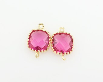 G000108C/Ruby/Gold plated over brass/Tooth Framed square faceted glass connector/9mm x 13.4mm/2pcs