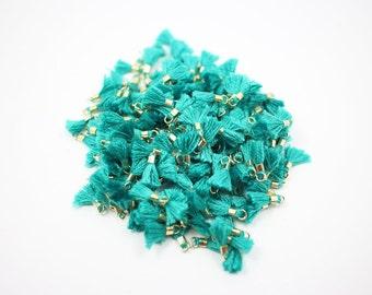 T000111/ Emerald /Gold plated over brass+Cotton/Mini Thread Tassel/10mm x 18mm approx/40pcs
