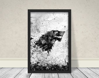 House Stark Inspired Art, Watercolor Stark, Game of thrones Art, Game of thrones Watercolor