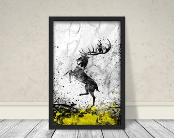 House Baratheon Inspired Art, Watercolor Baratheon, Game of thrones Art, Game of thrones Watercolor