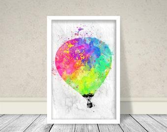 Hot Air Balloon Watercolor, Balloon Watercolor, Multicolor Balloon, Art, Download, Printable Art