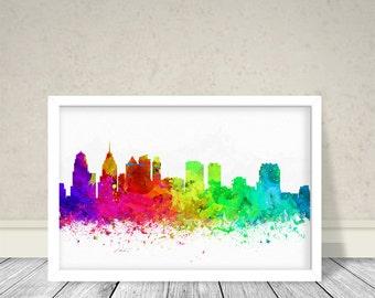 Philadelphia Watercolor, Cities Watercolor, Cities Art, Watercolor Art, Philadelphia City Art