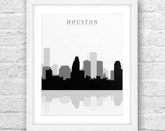 Houston Texas City, Houston Print, Houston Texas Art, Houston Skyline, Wall Art, Minimal Design, Minimalist Art, Houston Printable