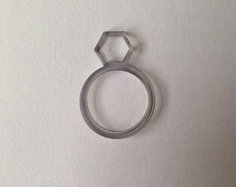 Cut out hexagon laser cut perspex ring