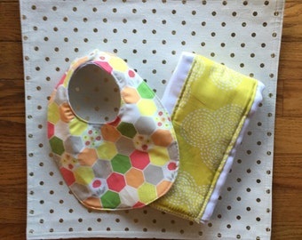 Bib and Burp Cloth Set-Geometric and Citrine