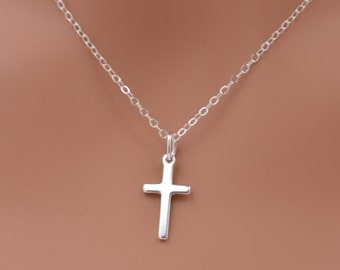 Sterling Silver Cross Necklace, Small Cross Necklace, Dangle Cross Necklace, 925 Sterling Silver - Gift for Her 0260