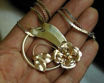 Vintage Handmade Sterling Silver 10KT Gold Filled Flowers Necklace Pendant