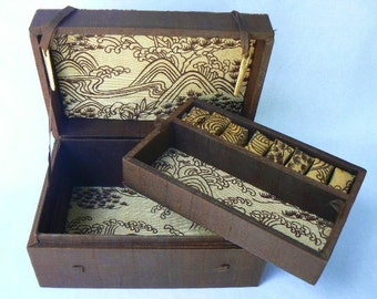 """Vintage Silk-Covered Gift Box /Jewelry Treasure Chest Covered in Brown Handwoven Pure Silk-Stylized Mountains and Plant Images 7.5""""x5""""x4.5"""""""