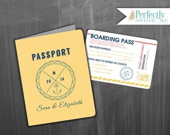 Passport Wedding Invitation, Hipster Adventures Wedding Invitation, Nautical Wedding Invitations, Wedding Invites - Design Deposit