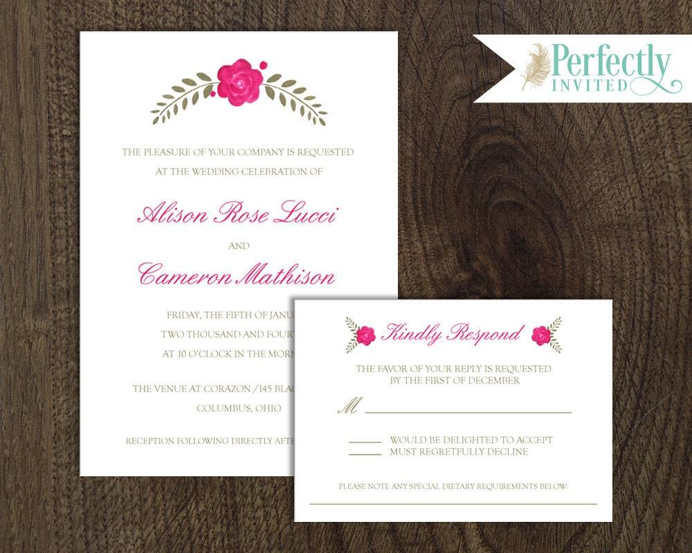 Wedding Invitation, Love Blooms Wedding Invitation, Rustic Wedding ...