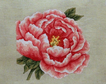 Hand made cross stitch peony